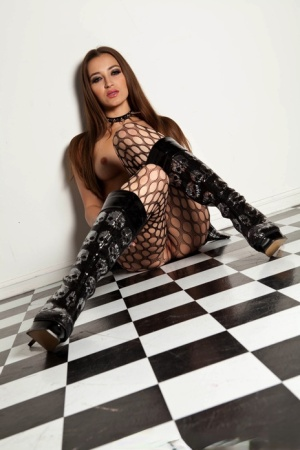 Solo girl Dani Daniels strips to fishnet pantyhose and knee high boots