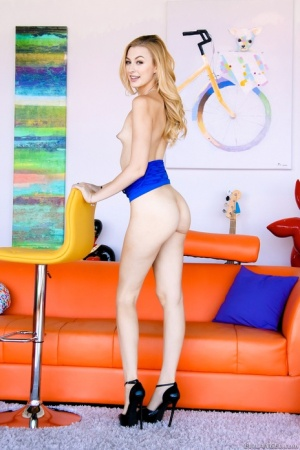 Gorgeous blonde babe with a bubble butt Alexa strips out of her dress