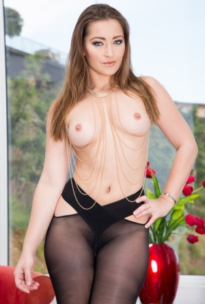 Sultry Dani Daniels gets some big black cock action in crotchess pantyhose