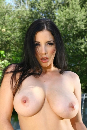 Steaming hot Jelena Jensen fondles her big breasts and spread ass at the pool