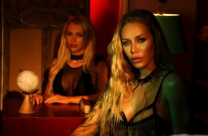 Busty blonds Nicole Aniston & Alix go lesbian after reading from Satanic bible