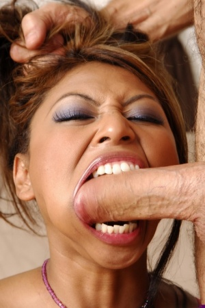 Asian chick sucks the cum from a big white cock after anal fucking