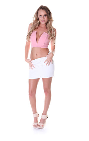 Blonde chick Alexis Adams shows her legs in a skirt before a striptease