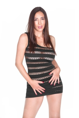 Sexy MILF Jelena Jensen strips off a short dress before stroking her pussy