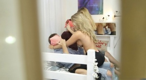 Sexy blonde college students give handjob & blowjob in reality coed group sex