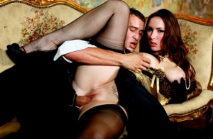 Classy female Paige Turnah goes PTM in sheer nylons and long gloves