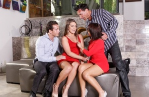 Sexy wives Chrissy Chase & Abby Cross swap partners during a hardcore foursome