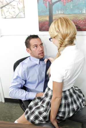 Salacious schoolgirl in glasses fucks a thick boner and gets facialized