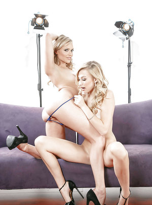 Euro blondes Alexa Grace and Mia Malkova tribbing and ass licking on couch