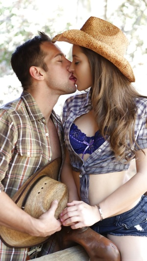 Hardcore outdoor cock riding in boots for country girl Dani Daniels