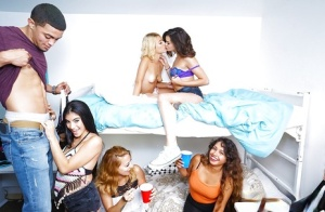 Latina coed Michelle Martinez and drunk dorm friends engage in sex party games