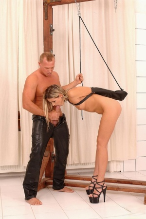 Leggy dirty blonde Cherry Jul is used as her Master pleases to do with her