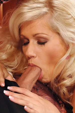 Beautiful blondes Sarah Blue and Cherry Jul give a double blowjob