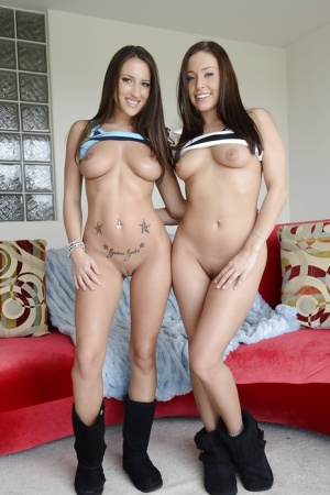 Hot ass gals Gracie Glam & Lizz Tayler uncovering their petite bodies