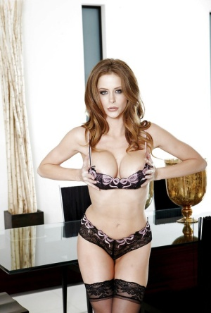 Kicky pornstar Emily Addison taking off her lingerie and toying her cunt